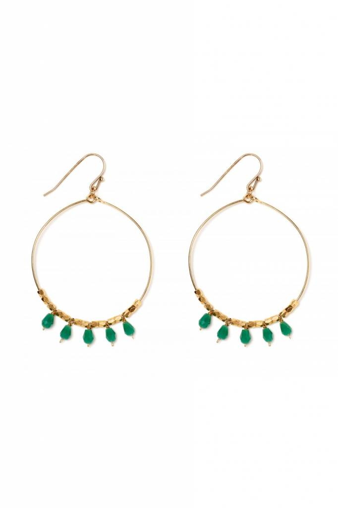 Polder South Earrings 2 /Brass/Hematite/Agate