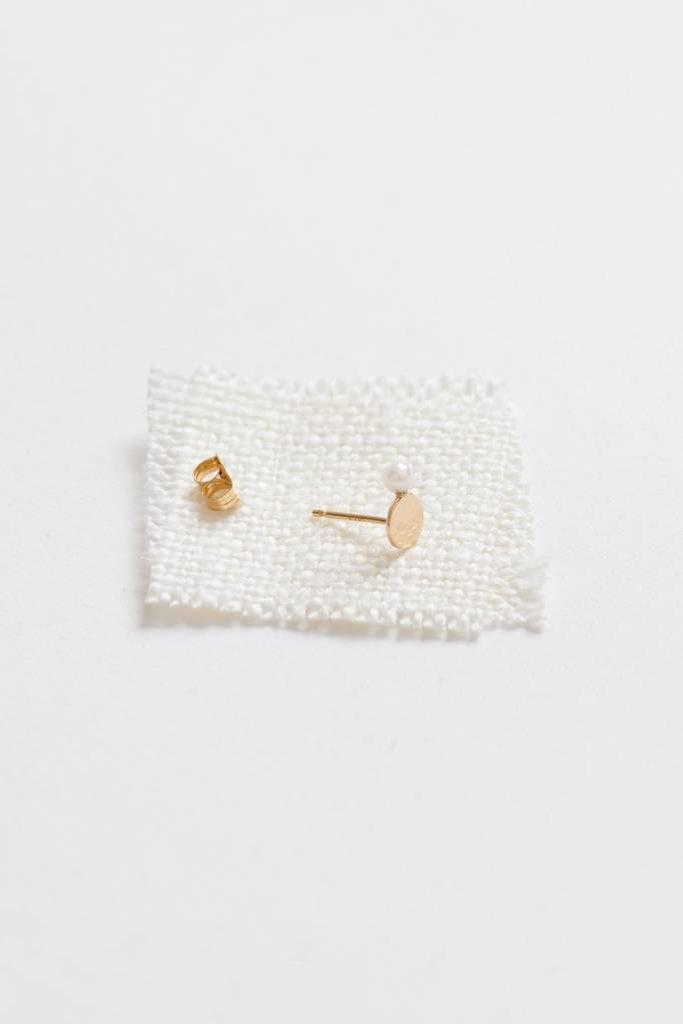 Lunita Stud 14KT/ Japanese white pearl SINGLE