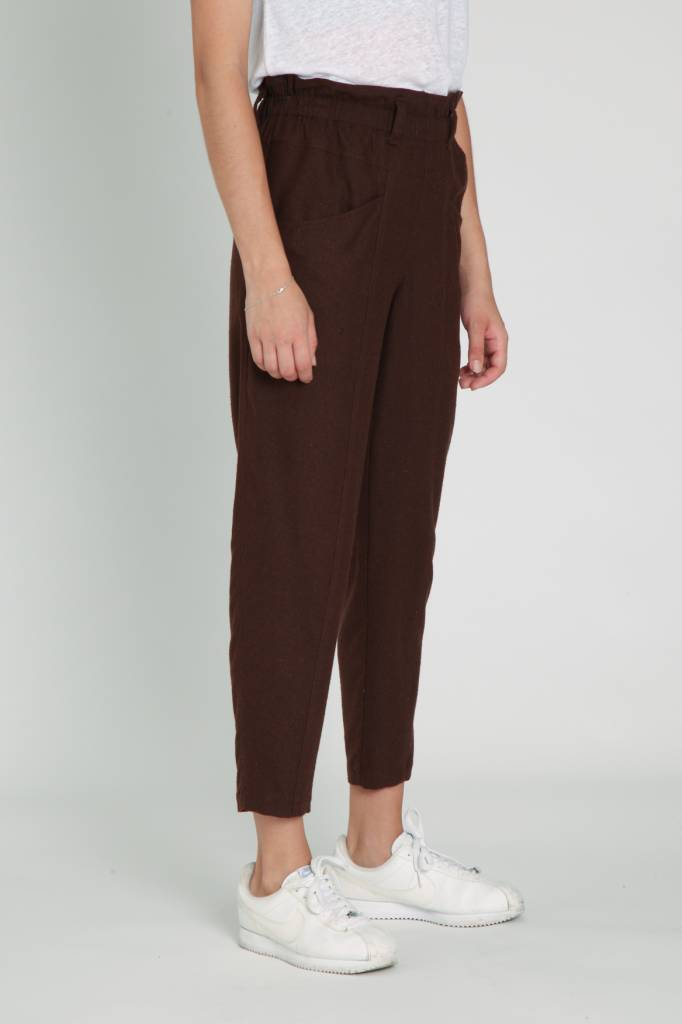 A.Cheng Yogi Pants Brown Raw Silk