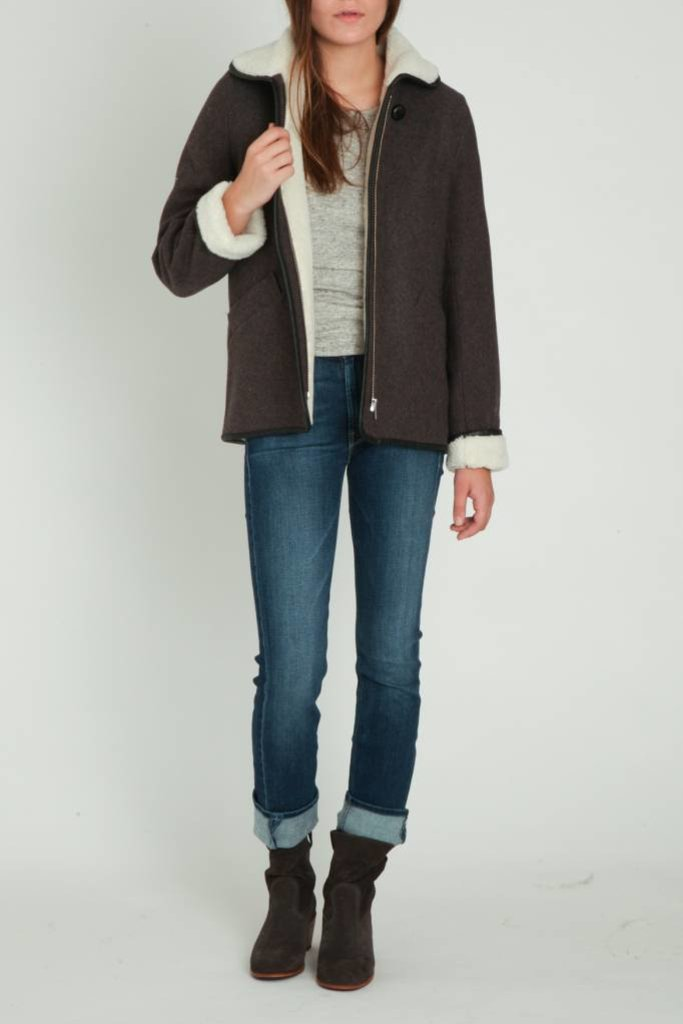 Sessun Faux Shearling Wool Short Coat