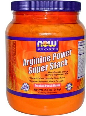 NOW Foods Arginine Power Super Stack, Tropical Fruit Punch, 50 Servings