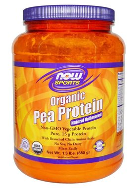 NOW Sports Organic Pea Protein, Unflavored, 1.5 lbs