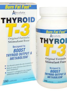 Absolute Nutrition Thyroid T3, 180 Capsules