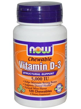 NOW Foods Vitamin D-3 5000 IU , Mint, 120 Lozenges
