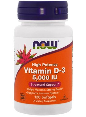 NOW Foods Vitamin D3 (5000 IU), 120 Softgels