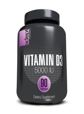 Adept Nutrition Vitamin D3 (5000 IU), 90 softgels