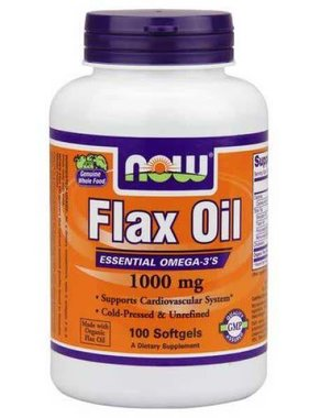 NOW Foods Flax Oil 1000mg, 100 Softgels
