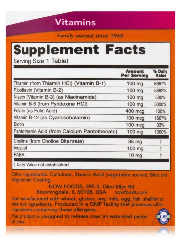 NOW Foods B-100mg., 100 Tablets