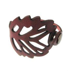 Erica Zap Leather Leaf Wrap Bracelet #2, brown