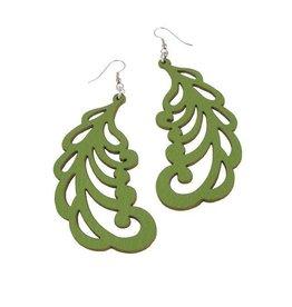 Erica Zap Plume Pattern Leather Earrings, green