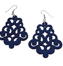 Erica Zap Vintage Lace Leather Earrings, navy blue
