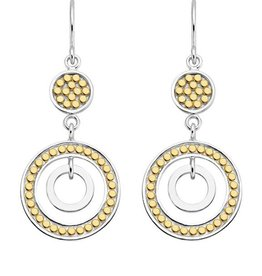 Anna Beck Gold & Silver Disc and Circle Drop Earrings