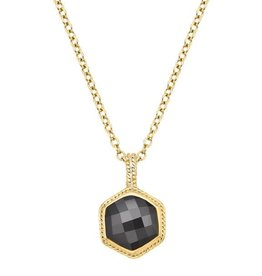 Anna Beck Grey Sapphire Hexagon Necklace, double sided