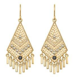 Anna Beck Grey Sapphire & Pyrite Kite Fringe Earrings