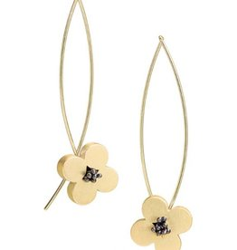 Bree Richey Circle Flower Earrings, opposing curved wires, vermeil
