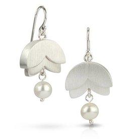 Bree Richey Double Petal Earrings, white pearl, silver