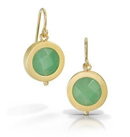 Bree Richey Circle Earrings, drop wires, faceted teal stone, vermeil
