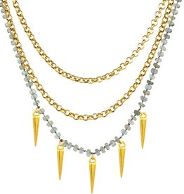 Taylor Kenney Triple Strand Spear Necklace