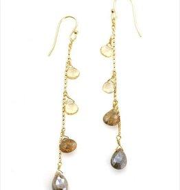 Philippa Roberts Citrine, Andalusite, Zircon Vermeil Earrings