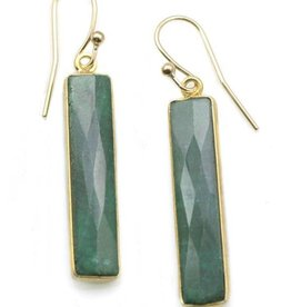 Philippa Roberts Emerald Rectangles, Vermeil Earrings