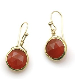 Philippa Roberts Round Carnelian, Vermeil Earrings