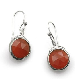 Philippa Roberts Round Carnelian, Silver Earrings