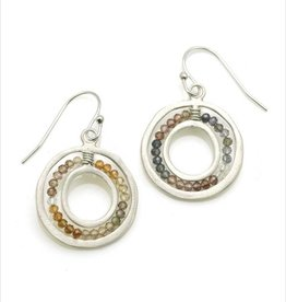 Philippa Roberts Open Circle with Sapphires Silver Earrings