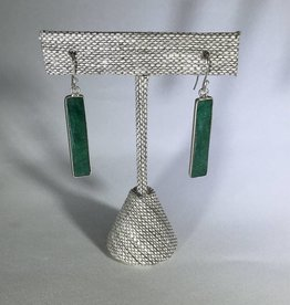 Philippa Roberts Emerald Rectangles, Silver Earrings