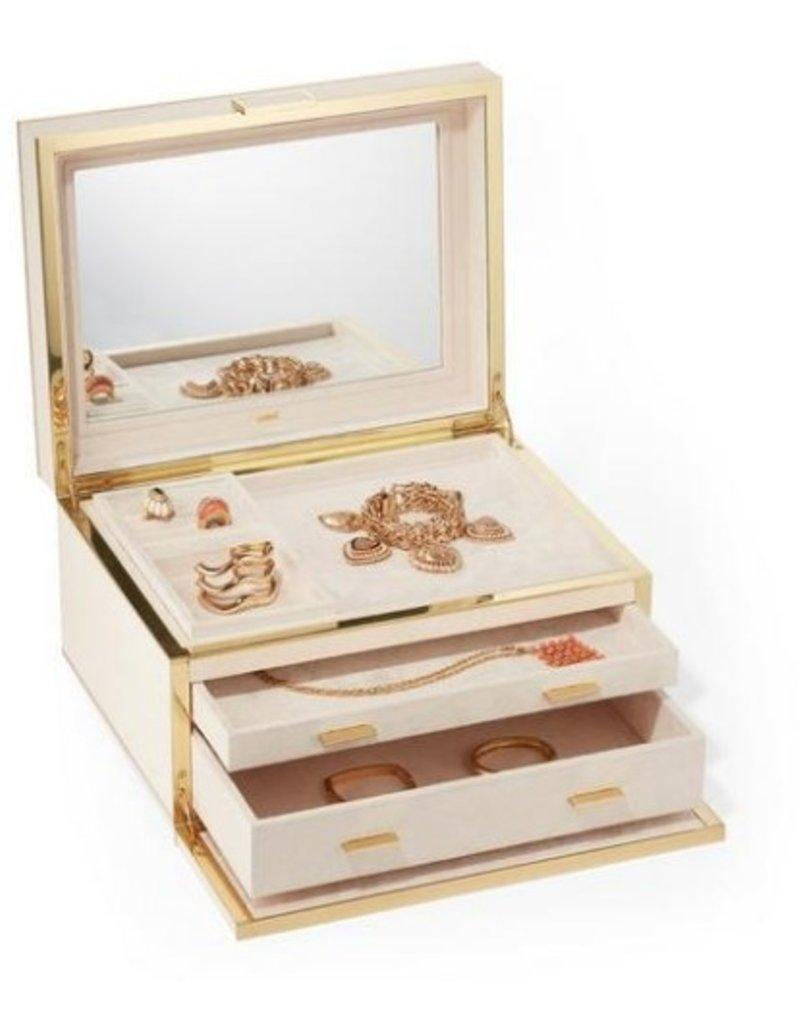 Cream Modern Shagreen Large Jewelry Box