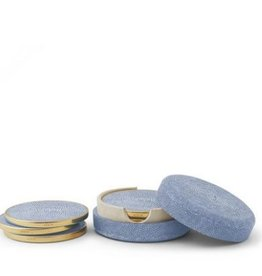 Aerin Shagreen Coaster Set, Blue