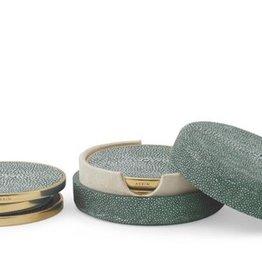 Aerin Shagreen Coaster Set, Emerald