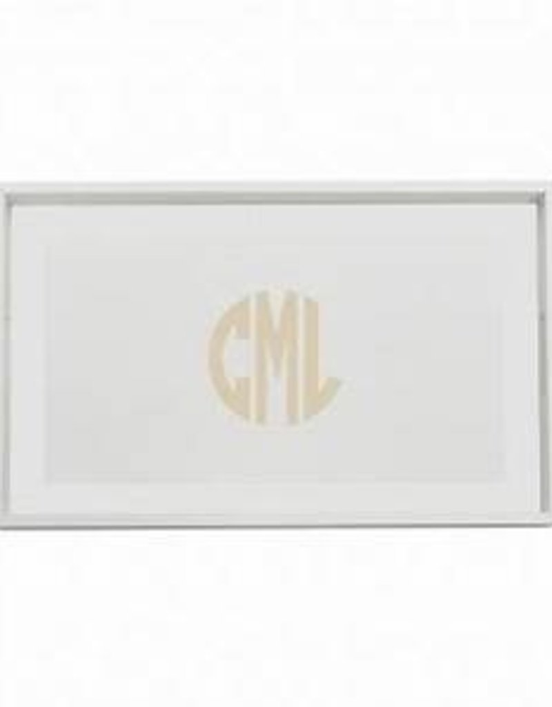 Wood Tray with Monogram Rectangle