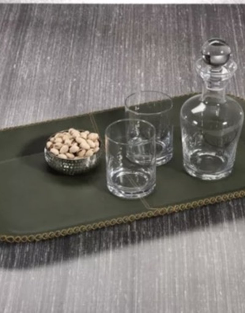 Green Leather Serving Tray