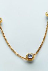 Loire Station Necklace Gold Clear Chalcedony Blue