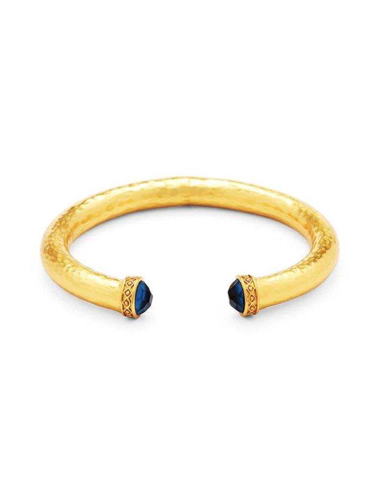 Catalina Demi Hinge Cuff Gold Sapphire Blue