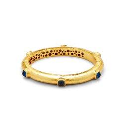 Catalina Hinge Bangle Gold Sapphire Blue
