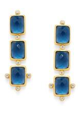 Clara Tier Earring Gold Sapphire Blue