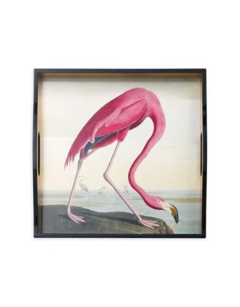 Audubon Flamingo Lacquer Square Tray