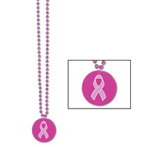 Pink Ribbon Beads with Medallion