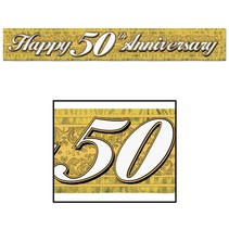 Happy 50TH Anniversary Metallic Fringed Banner