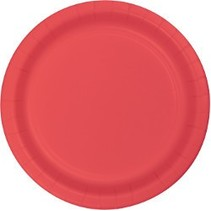 "7"" Round Plates  Classic Red"