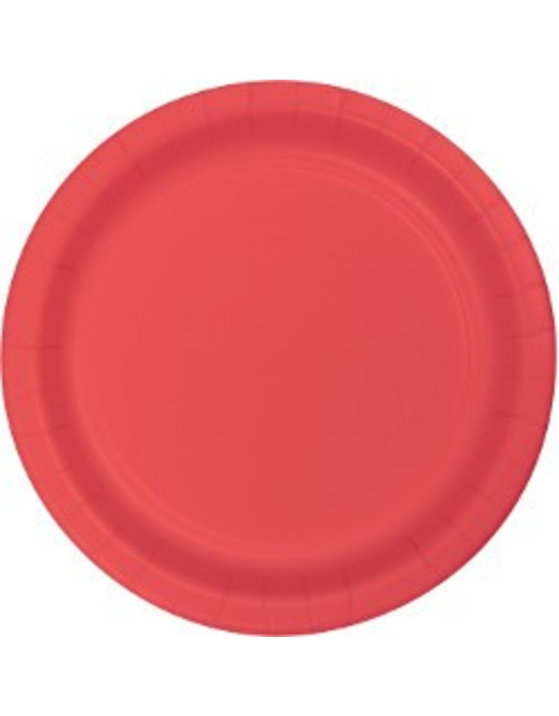 "7"" Round Plates  Coral"