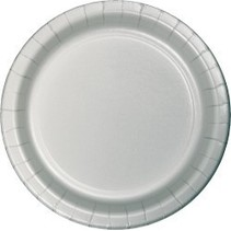 """7"""" Round Plates  Shimmering Silver"""