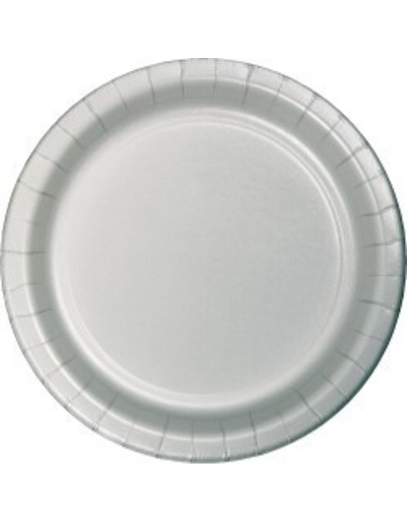 "7"" Round Plates  Shimmering Silver"