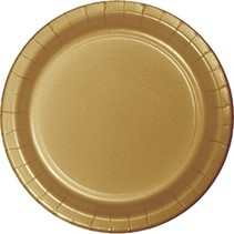 "7"" Round Plates  Glittering Gold"