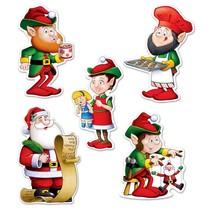 Santa And Elves Cutouts-10-Pieces