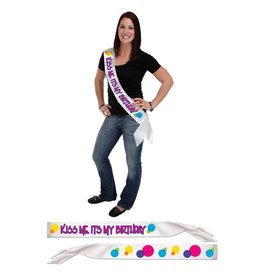 Kiss Me It's My Birthday Sash-One Size Fits Most