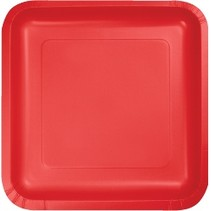 "9"" Square Plate Classic Red"