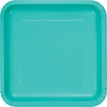 "9"" Square Plate Teal Lagoon"