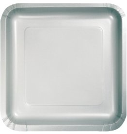 """9"""" Square Plate Shimmering Silver"""
